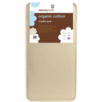 Naturepedic Organic Cotton Square Cradle Mattress 18x36x1.5 - Natural