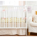 New Arrivals Gold Rush in Pink 4 Piece Crib Bedding Set