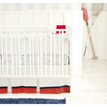 New Arrivals Out to Sea in Blue 2 Piece Baby Crib Bedding Set with Blue Solid Bumper