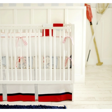 New Arrivals Out to Sea in Blue 2 Piece Baby Crib Bedding Set with Red Stripe Bumper