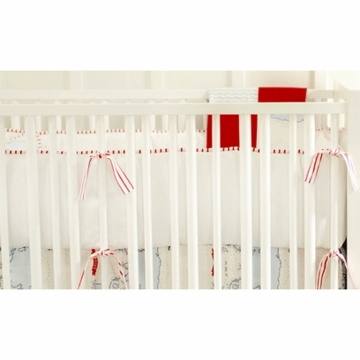 New Arrivals Out to Sea in Blue Crib Bumper - Red