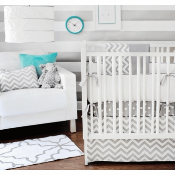New Arrivals Zig Zag Grey 3 Piece Baby Crib Bedding Set