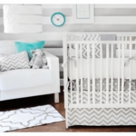 New Arrivals Zig Zag Grey 4 Piece Baby Crib Bedding Set