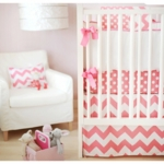 New Arrivals Zig Zag Hot Pink 4 Piece Baby Crib Bedding Set