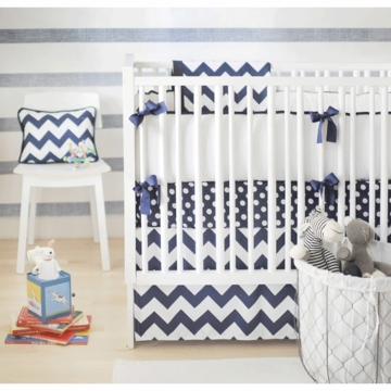 New Arrivals Zig Zag Navy 3 Piece Baby Crib Bedding Set
