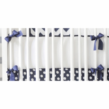 New Arrivals Zig Zag Navy Crib Bumper