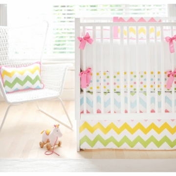 New Arrivals Zig Zag Rainbow 3 Piece Baby Crib Bedding Set