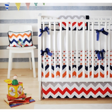 New Arrivals Zig Zag Rugby 3 Piece Baby Crib Bedding Set