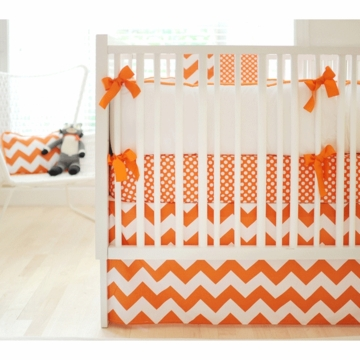New Arrivals Zig Zag Tangerine 3 Piece Baby Crib Bedding Set