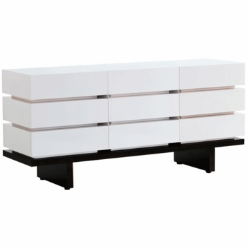Nurseryworks 3-Wide Dresser in White with Dark Base