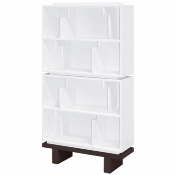 Nurseryworks Storytime Double Bookcase in White with Dark Base