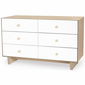 Oeuf Merlin 6 Drawer Dresser in Birch/White - Rhea