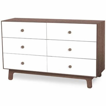 Oeuf Merlin 6 Drawer Dresser in Walnut/White - Sparrow