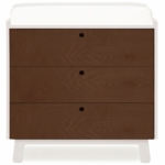 Oeuf Sparrow Collection 3 Drawer Dresser in White/ Walnut