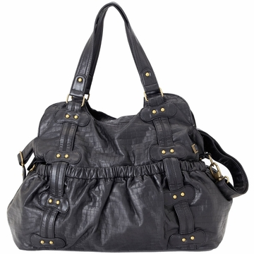 OiOi Black Faux Croc Leather with Studs Tote Diaper Bag