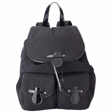 OiOi Black Nylon/Patent Backpack Diaper Bag