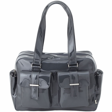 OiOi Gunmetal Patent Carry All Diaper Bag