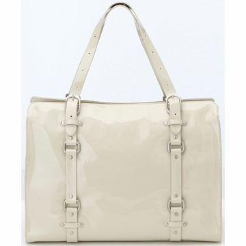 OiOi Ivory Patent Leather Tote Diaper Bag