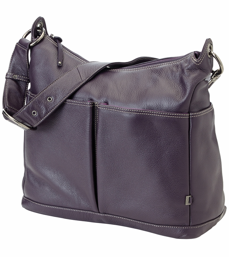 oioi leather hobo diaper bag in sugar plum. Black Bedroom Furniture Sets. Home Design Ideas