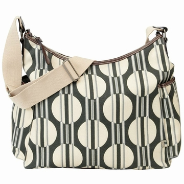 OiOi Sand Dot/Stripe with Tangerine Linging Hobo Diaper Bag