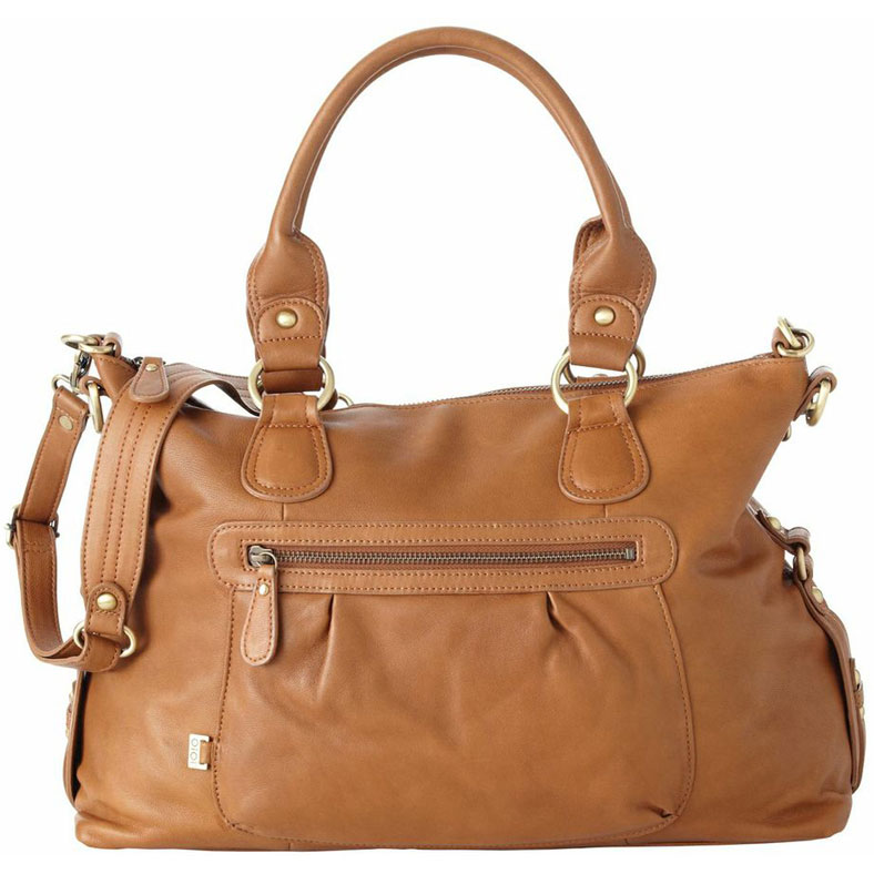 oioi tan leather slouch tote diaper bag. Black Bedroom Furniture Sets. Home Design Ideas
