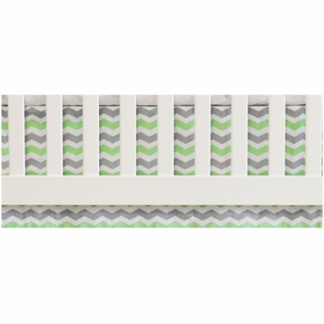 Oliver B Chevron Flat Panel Crib Skirt in White, Mint & Grey