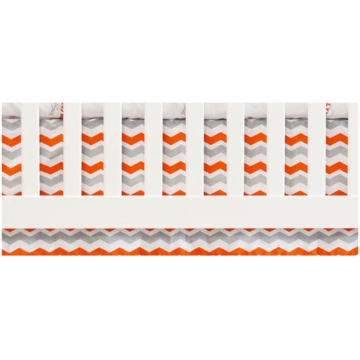 Oliver B Chevron Flat Panel Crib Skirt in White, Orange & Grey