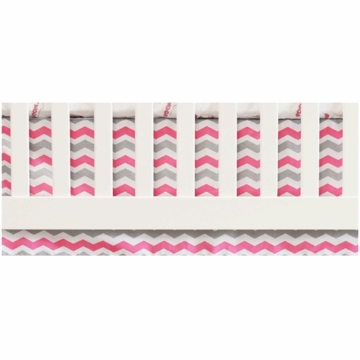 Oliver B Chevron Flat Panel Crib Skirt in White, Pink & Grey