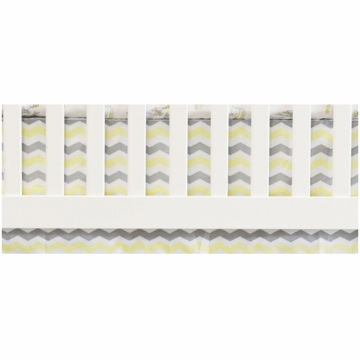 Oliver B Chevron Flat Panel Crib Skirt in White, Yellow & Grey