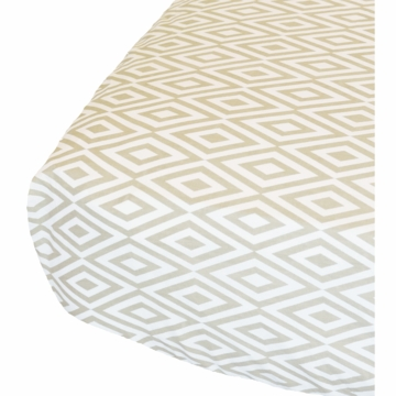 Oliver B Diamond Crib Sheet in White & Sandy Grey