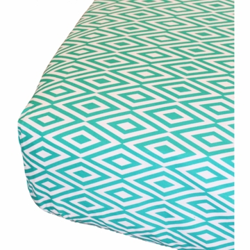 Oliver B Diamond Crib Sheet in White & Turquoise