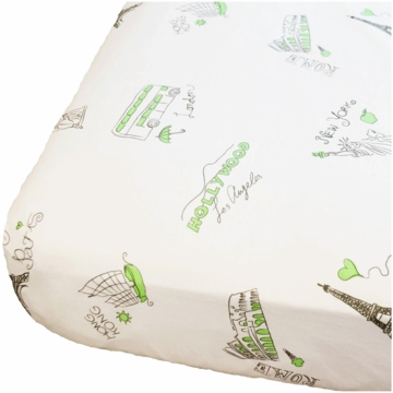 Oliver B Landmark Cities Around the World Crib Sheet in White, Mint & Grey