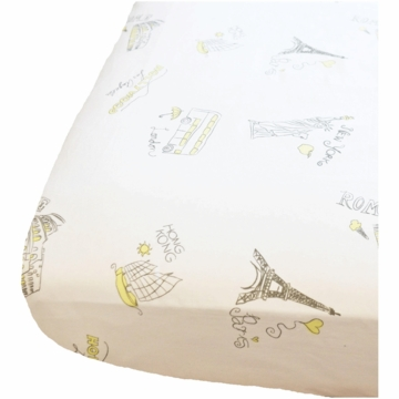 Oliver B Landmark Cities Around the World Crib Sheet in White, Yellow & Grey