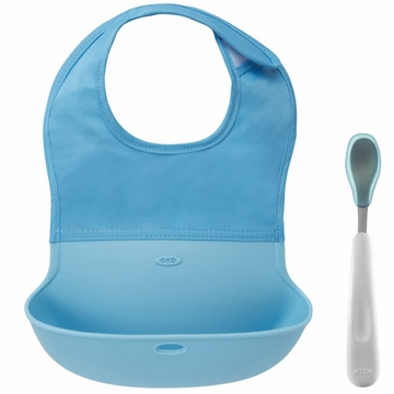 OXO Tot On-the-Go Bib & Spoon Set - Aqua