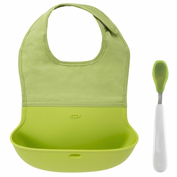 OXO Tot On-the-Go Bib & Spoon Set - Green