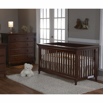 Pali Ancona 2 Piece Nursery Set in Chocolate - Crib & 4 Drawer Dresser