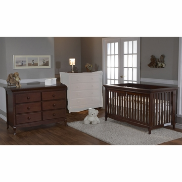 Pali Ancona 2 Piece Nursery Set in Chocolate - Crib & Double Dresser