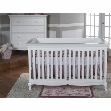 Pali Ancona 2 Piece Nursery Set in White - Crib & 4 Drawer Dresser