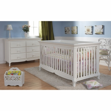 Pali Ancona 2 Piece Nursery Set in White - Crib & Double Dresser