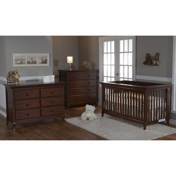 Pali Ancona 3 Piece Nursery Set in Chocolate - Crib, Double Dresser & 4 Drawer Dresser