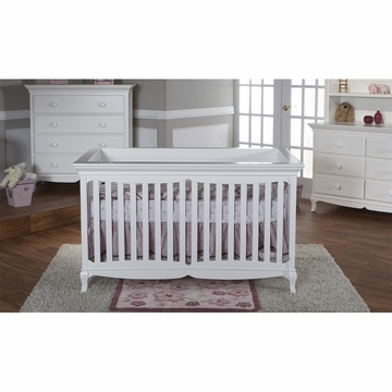 Pali Ancona 3 Piece Nursery Set in White - Crib, Double Dresser & 4 Drawer Dresser