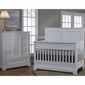 Pali Aria 2 Piece Nursery Set in White - Forever Crib & 5 Drawer Dresser