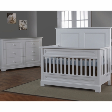 Pali Aria 2 Piece Nursery Set in White - Forever Crib & Double Dresser