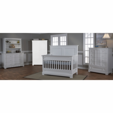 Pali Aria 3 Piece Nursery Set in White - Forever Crib, Double Dresser & 5 Drawer Dresser