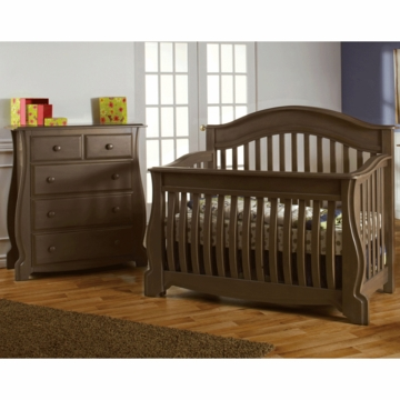 Pali Bergamo 2 Piece Nursery Set in Earth - Crib & 4 Drawer Dresser