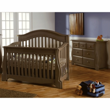 Pali Bergamo 2 Piece Nursery Set in Earth - Crib & Double Dresser