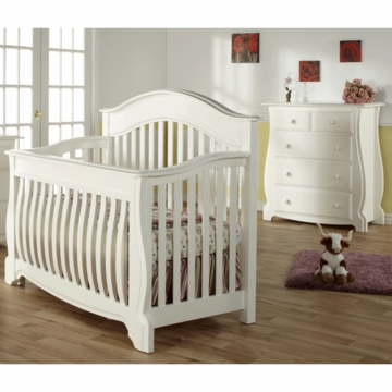Pali Bergamo 2 Piece Nursery Set in White - Crib & 4 Drawer Dresser