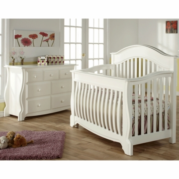 Pali Bergamo 2 Piece Nursery Set in White - Crib & Double Dresser