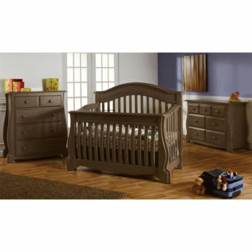 Pali Bergamo 3 Piece Nursery Set in Earth - Crib, Double Dresser & 4 Drawer Dresser
