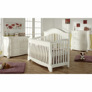 Pali Bergamo 3 Piece Nursery Set in White - Crib, Double Dresser & 4 Drawer Dresser